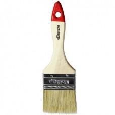 Кисть плоская DERZHI МАСТЕР, светлая натуральная щетина, деревянная ручка, 63мм(1/12/300) 8103-063