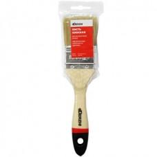 Кисть плоская DERZHI ПРОФИ, светлая натуральная щетина, деревянная ручка, 50мм (1/12/360) 8101-050