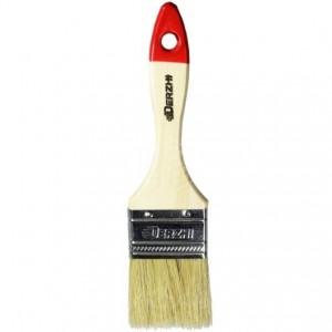 Кисть плоская DERZHI МАСТЕР, светлая натуральная щетина, деревянная ручка, 50мм(1/12/480) 8103-050