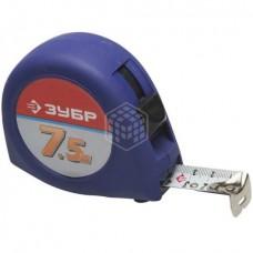 Рулетка Зубр Комфорт, корпус с резиновым напылением, 7,5м х 25мм