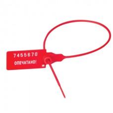 Пломба пластиковая номерная, одноразовая, 320 мм, красная.