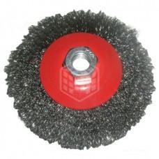 Щётка для УШМ Matrix, тарелка, 115 мм, М14, витая латунная проволока, 74612